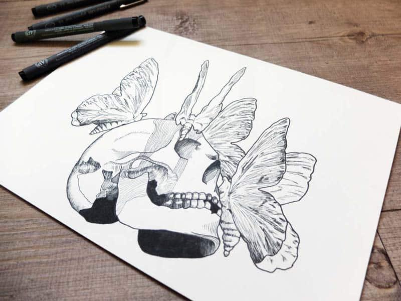 Illustration tete-de-mort-papillon hellfest©ID Graphik